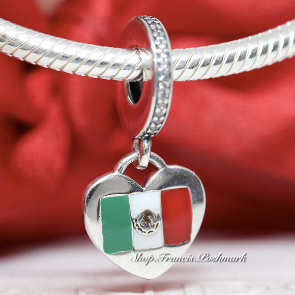 Pandora Love Mexico Flag Heart Charm